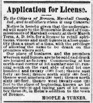 CJ Hoople liquor license - 1879