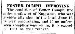 Foster Dumph improving - Goshen Daily Democrat - 24 Jun 1922
