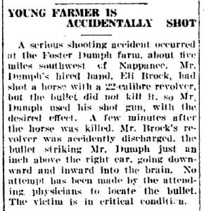 Foster Dumph shot - Goshen Daily Democrat - 17 Jun 1922