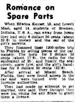 Runaways sell car parts to reach Florida - 1938