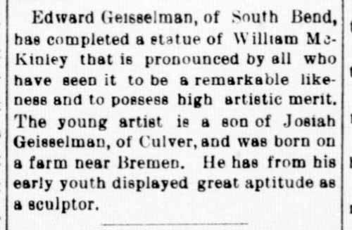 Edward Geiselman - sculptor -1901