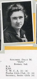 Dolly Schlosser - Purdue grad - 1918