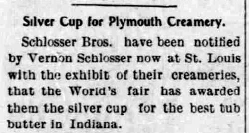 Schlosser butter prize - Plymouth Trib 3 Nov 1904