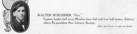 Walter K Schlosser - BHS 1908