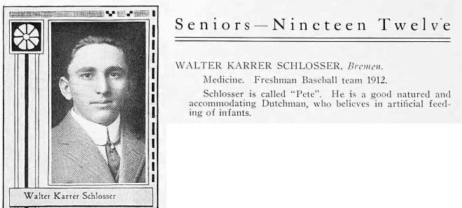 Walter K Schlosser - IU 1912