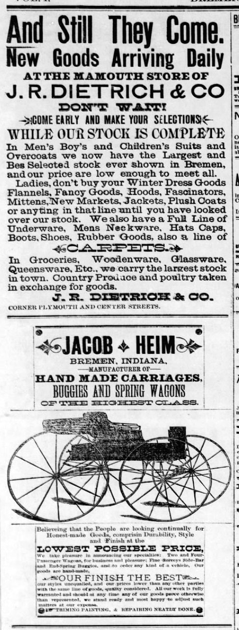 Dietrich and Heim ads - Bremen Enquirer - 26 Oct 1889