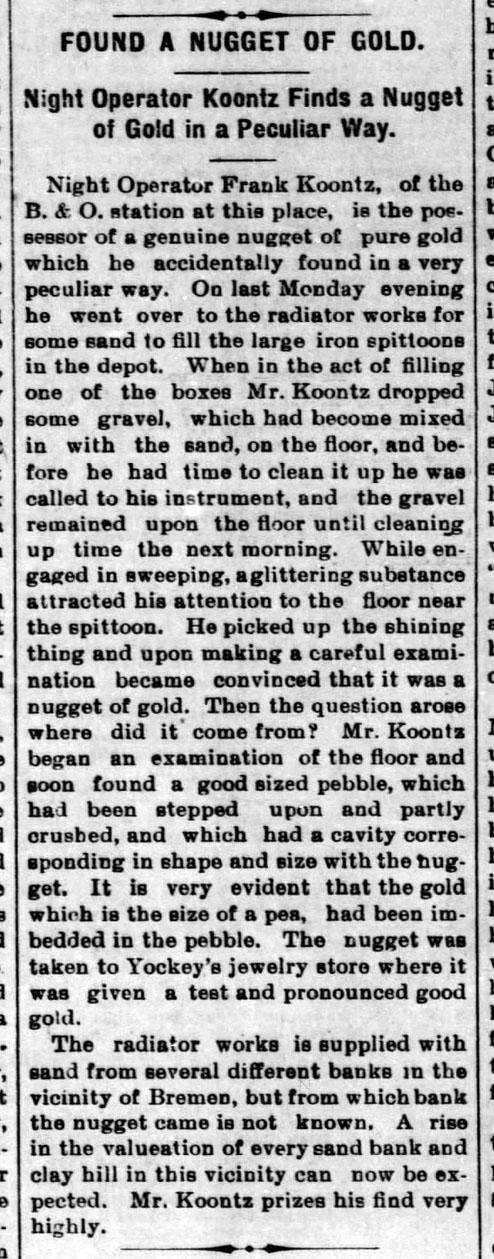 Frank Koontz gold - Bremen Enquirer - 30 Nov 1894