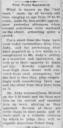 Juniors Band - debut - Jan 2, 1913
