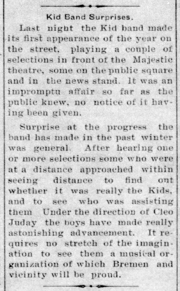 Juniors Band - year 2 - Enquirer - Ap 2, 1914